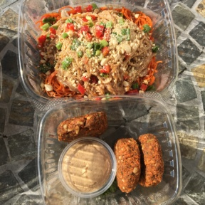 Gluten-free pasta and falafel from Open Source Organics