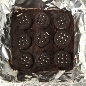 "Gluten-free ""Oreo"" stuffed brownies ready for the oven"
