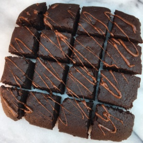 Gluten-free brownies with chocolate drizzle