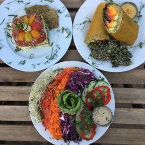 Gluten-free vegan lunch spread from Peace Pies