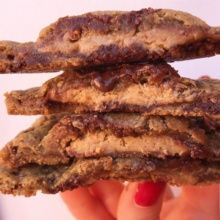Gluten-free Peanut Butter Cup Stuffed Chocolate Chip Cookies
