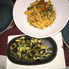 Gluten-free pasta and brussels sprouts from Petaluma