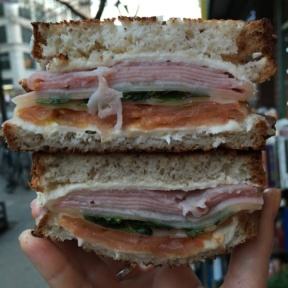 Gluten-free ham grilled cheese from Pie by the Pound