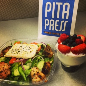 Gluten-free salad and Greek yogurt from Pita Press