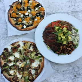 Gluten-free pizzas and salad from Pitfire Pizza