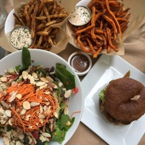 Gluten-free burger, fries, and salad from Pono Burger
