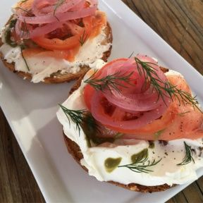 Gluten-free smoked salmon bagel from Powerplant Superfood Cafe