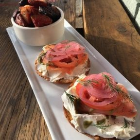 Gluten-free bagel with cream cheese and salmon from Powerplant Superfood Cafe