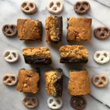 Gluten-free Pretzel Blondie Brownie Bars with Assorted Pretzels