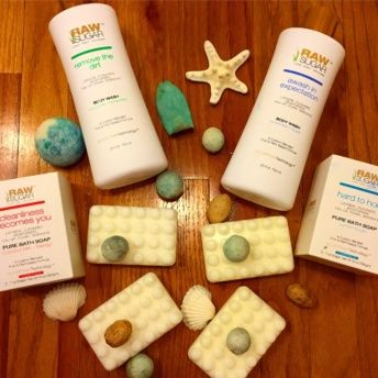 Gluten-free body wash and soap products from Raw Sugar Living
