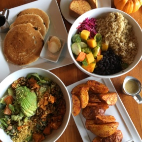 Gluten-free brunch spread from Real Food Daily