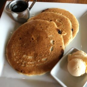 Gluten-free blueberry pancakes from Real Food Daily