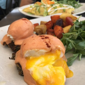 Gluten-free eggs Benedict with potatoes from Root Down