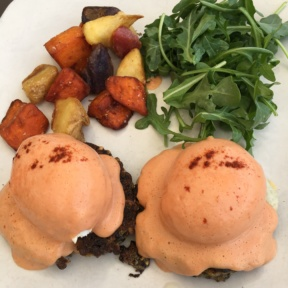 Gluten-free eggs Benedict from Root Down