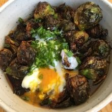 Gluten-free brussels sprouts with an egg from Rose Cafe