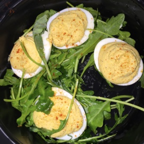 Gluten-free deviled eggs from Route 66 Smokehouse