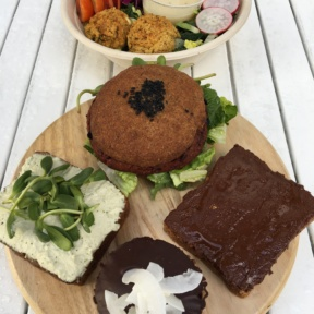 Gluten-free burger, salad, and toasts from Seed & Salt