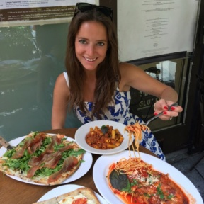 Jackie eating a 100% Gluten-free lunch at Senza Gluten