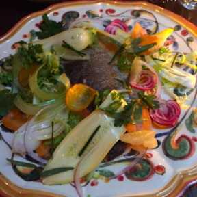 Gluten-free fish entree from Sessanta