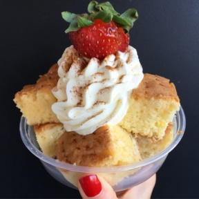 Gluten-free cake in a bowl from Sinners and Saints Desserts