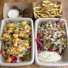 Gluten-free salads, fries, and falafel from Soom Soom