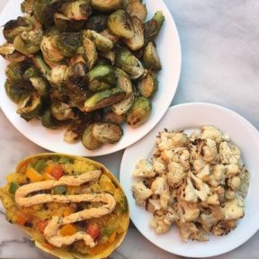 Spaghetti Squash Boats with Roasted Brussels Sprouts and Cauliflower