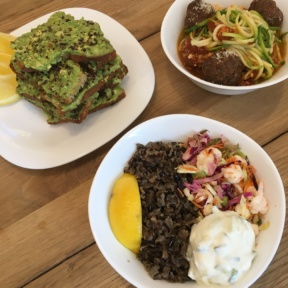 Gluten-free zoodles and avocado toast from Springbone Kitchen