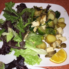 Gluten-free salad with brussels sprouts from Square Cafe