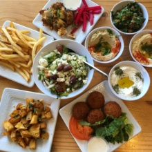 Gluten-free hummus and sides from Sunnin Lebanese Cafe