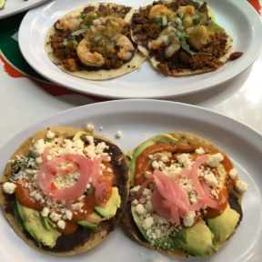 Gluten-free shrimp and bean tacos from Tacombi