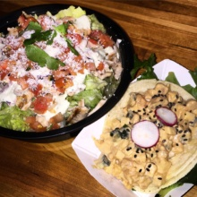 Gluten-free taco and salad from Takumi Taco