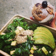 Gluten-free kale salad and muffin from The Butcher's Daughter