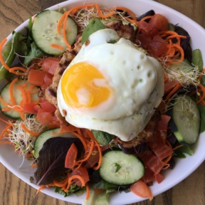 Gluten-free salad with an egg from The Counter Burger