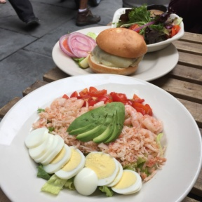 Gluten-free salad and burger from The Dubliner