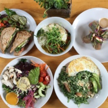 Gluten-free lunch spread from The Plant Cafe Organic
