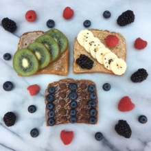 3 Gluten-Free Toasts with Three Nut Butters and Fruit
