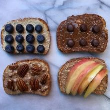 Toast Four Ways with Four Nut Butters