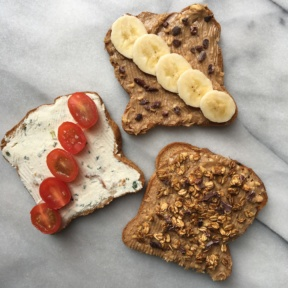 Gluten-free Toast with Cream Cheese & Peanut Butter