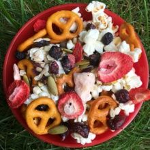 Gluten-free Trail Mix with pretzels and popcorn