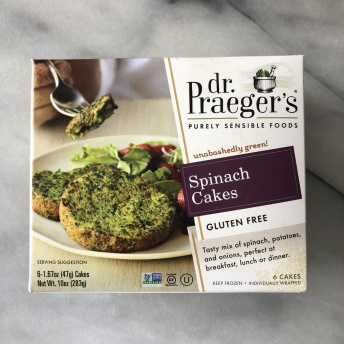 Gluten-free spinach cakes by Dr. Praeger's