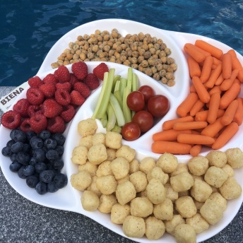 Gluten-free snacks by the pool with Biena Snacks