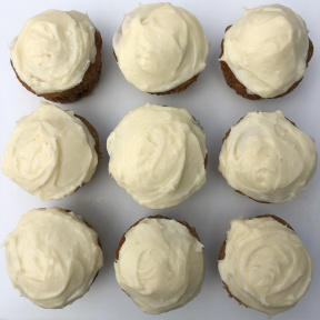 Carrot Cupcakes frosted with cream cheese frosting