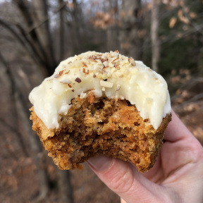 Big bite from a gluten-free Carrot Cupcakes