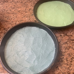 Blue and green cakes ready for the oven