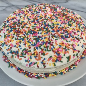 Delicious gluten-free Checkerboard Cake with buttercream frosting