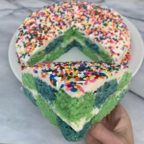 A slice of Checkerboard Cake