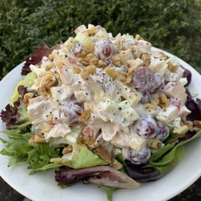 Chicken Waldorf Salad on a bed of greens