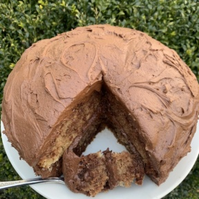 Delicious Marble Cake with chocolate buttercream frosting