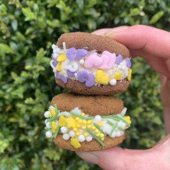 Stack of gluten-free cookie sandwiches from Simple Mills