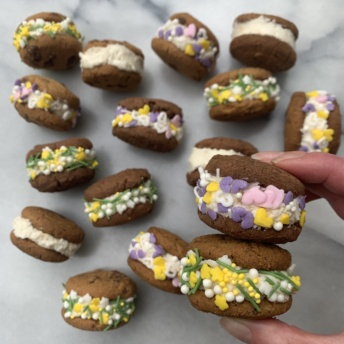 Gluten-free frosting-filled cookie sandwiches with Simple Mills cookies